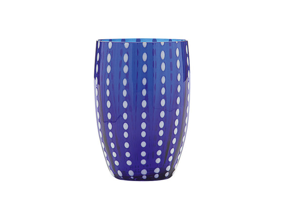 Zafferano Perle Tumbler Glass Blue 320ml, Set of 6