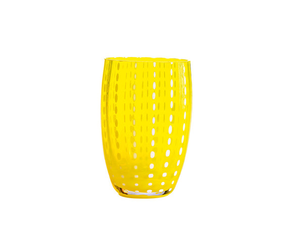 Zafferano Perle Tumbler Glass Yellow 320ml, Set of 6