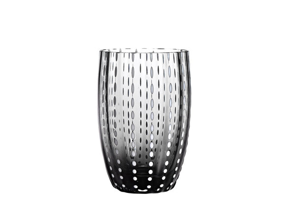 Zafferano Perle Tumbler Glass Grey 320ml, Set of 6