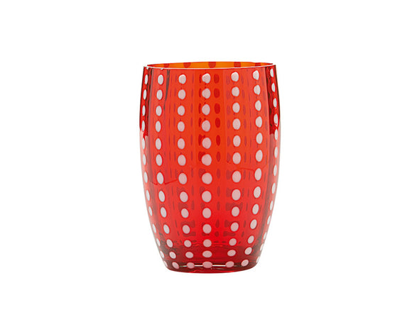 Zafferano Perle Tumbler Glass Red 320ml, Set of 6