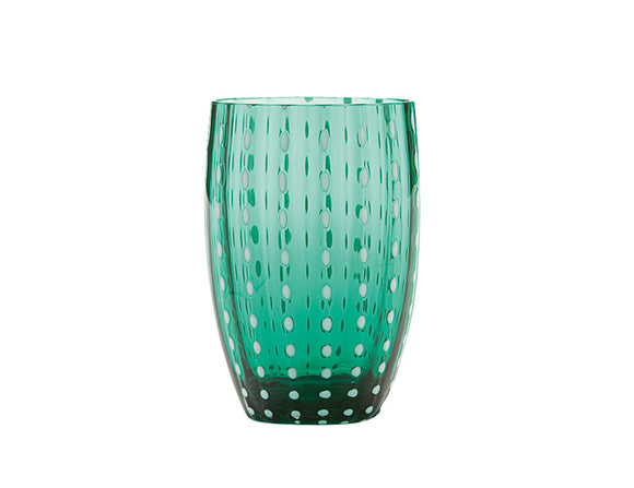 Zafferano Perle Tumbler Glass Green 320ml, Set of 6