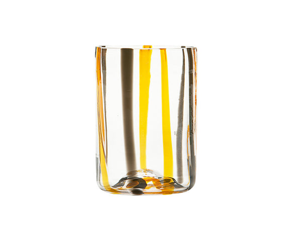 Zafferano Tirache Tumbler Glass Black & Orange 350ml, Set of 6