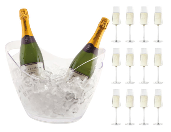 Soiree Acrylic Multi Bottle Bucket & 12 Power Champagne Flutes