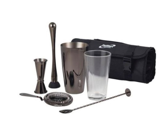 Soiree Gun Metal Black Cocktail Kit, 7 Piece
