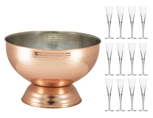 Soiree Hammered Copper Champagne Bowl & 12 Trumpet Flutes