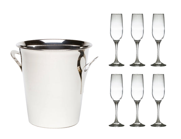 Soiree Tulip Wine Bucket & 6 Champagne Flutes
