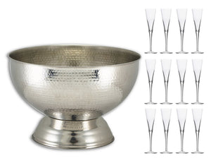 Soiree Hammered Stainless Steel Champagne Bowl & 12 Trumpet Flutes