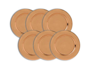 Charger Plate 33cm, Copper, Set of 6