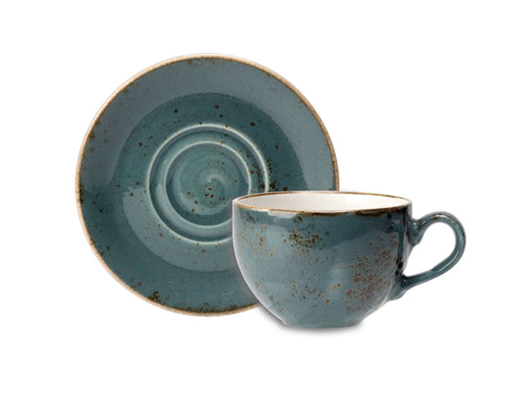 Rustic Craft Tea Cup & Saucer 23cl, Blue Décor