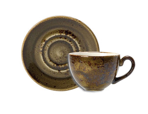 Rustic Craft Espresso Cup & Saucer 9cl, Warm Brown