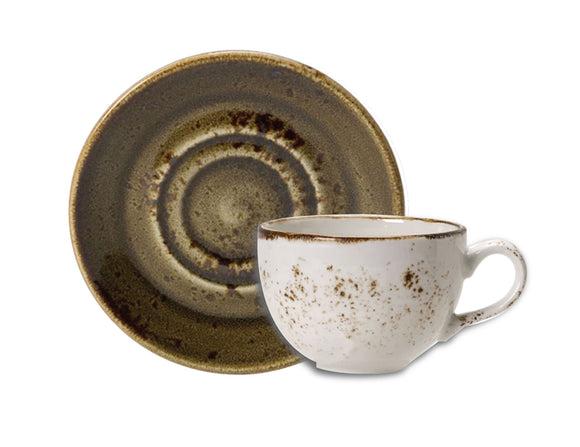 Rustic Craft Espresso Cup & Saucer 9cl, White & Brown