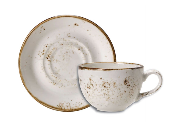 Rustic Craft Espresso Cup & Saucer 9cl, White Décor