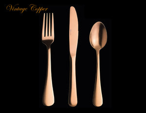 Varick Vintage Copper 36 Piece Cutlery Set