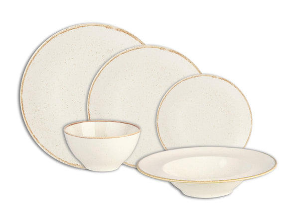 Rustic Seasons Dinner Set Oatmeal Décor, 5 Piece
