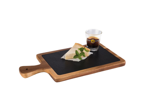 Imperial Acacia Wood & Slate Tray Set 26cm x 18cm