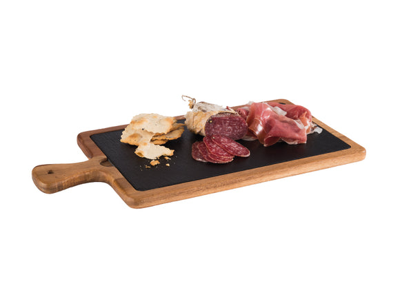 Imperial Acacia Wood & Slate Tray Set 33cm x 20cm