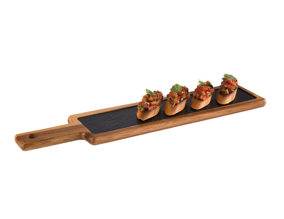 Imperial Acacia Wood & Slate Tray Set 43cm x 12cm