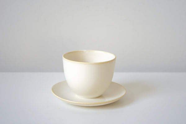 Pebble Cup + Saucer - Winter White