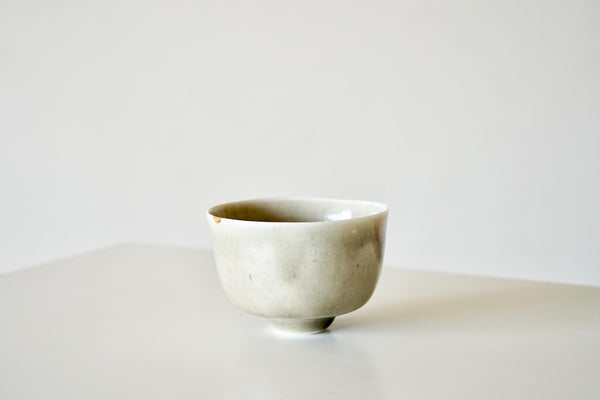 Porcelain Tea Vessel - Gold Dot on Lichen