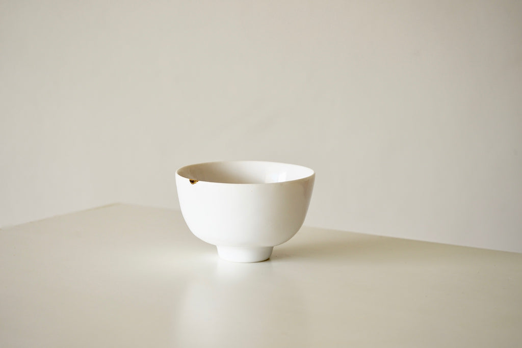 Porcelain Tea Vessel - Gold Dot on White