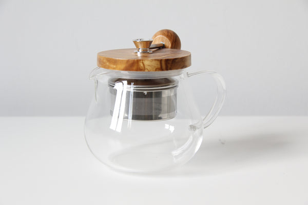 Japanese glass olive wood teapot