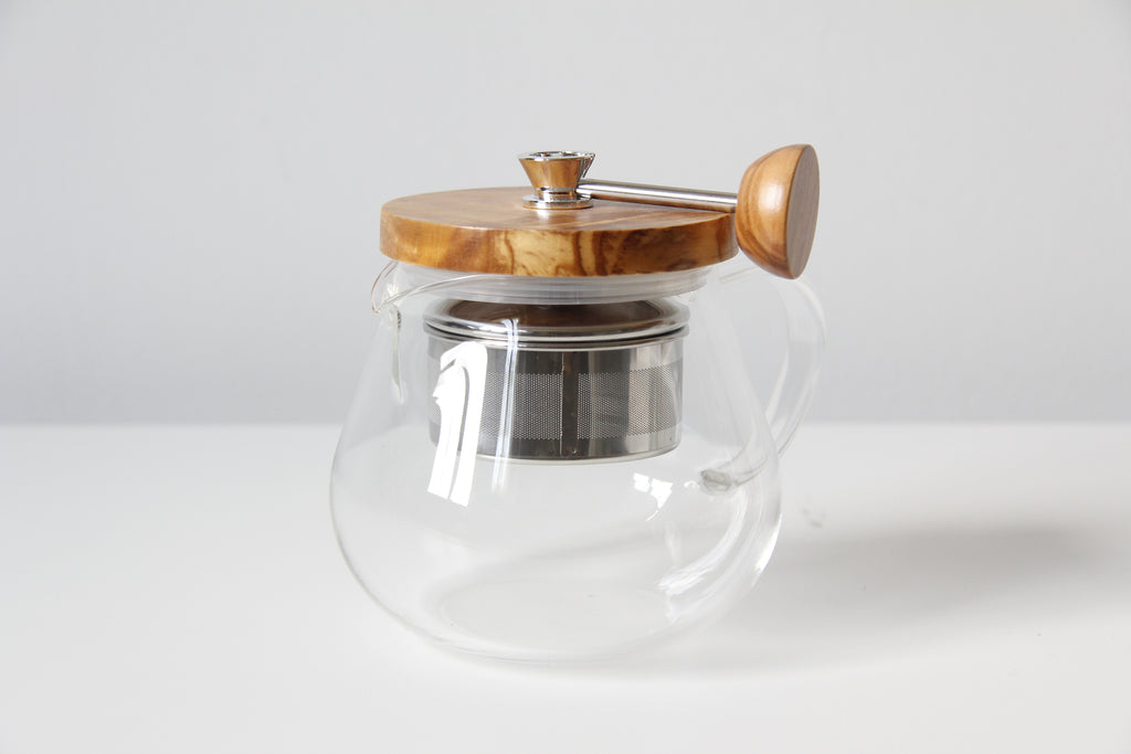 Glass + Olive Wood Teapot - Large