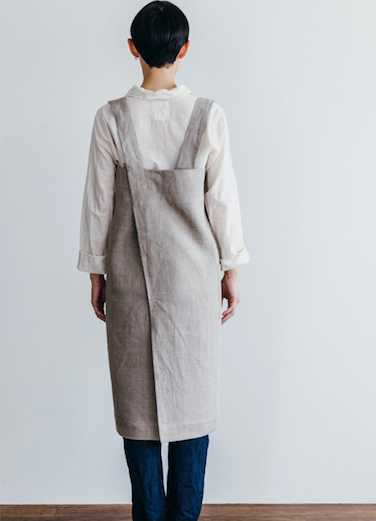 Linen Square Cross Apron - Natural