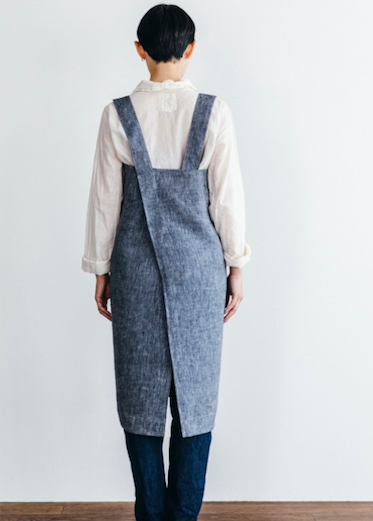 Linen Square Cross Apron - Denim