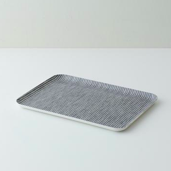 Coated Linen Tray - Grey Stripe