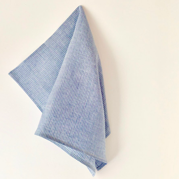 Linen Tea Towel - Blue Check