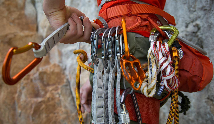 Harness with climbing gear