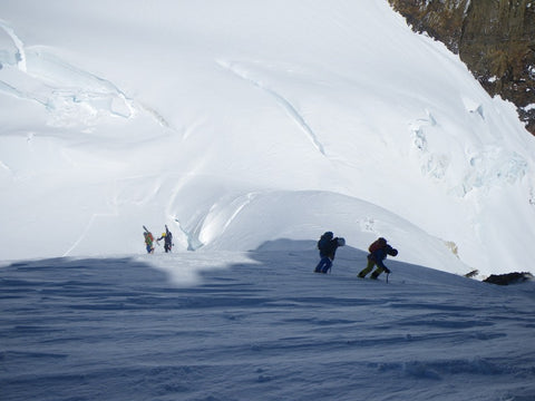 Steep snow above the col on the way up Pico Argentino
