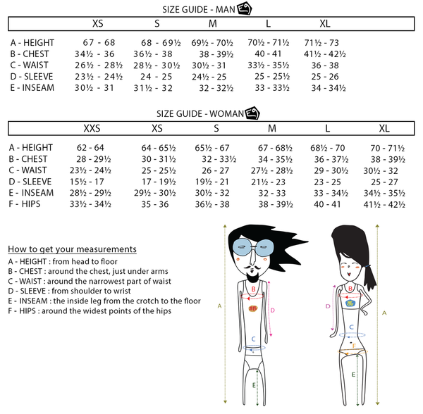 E9 clothing size chart for men and women