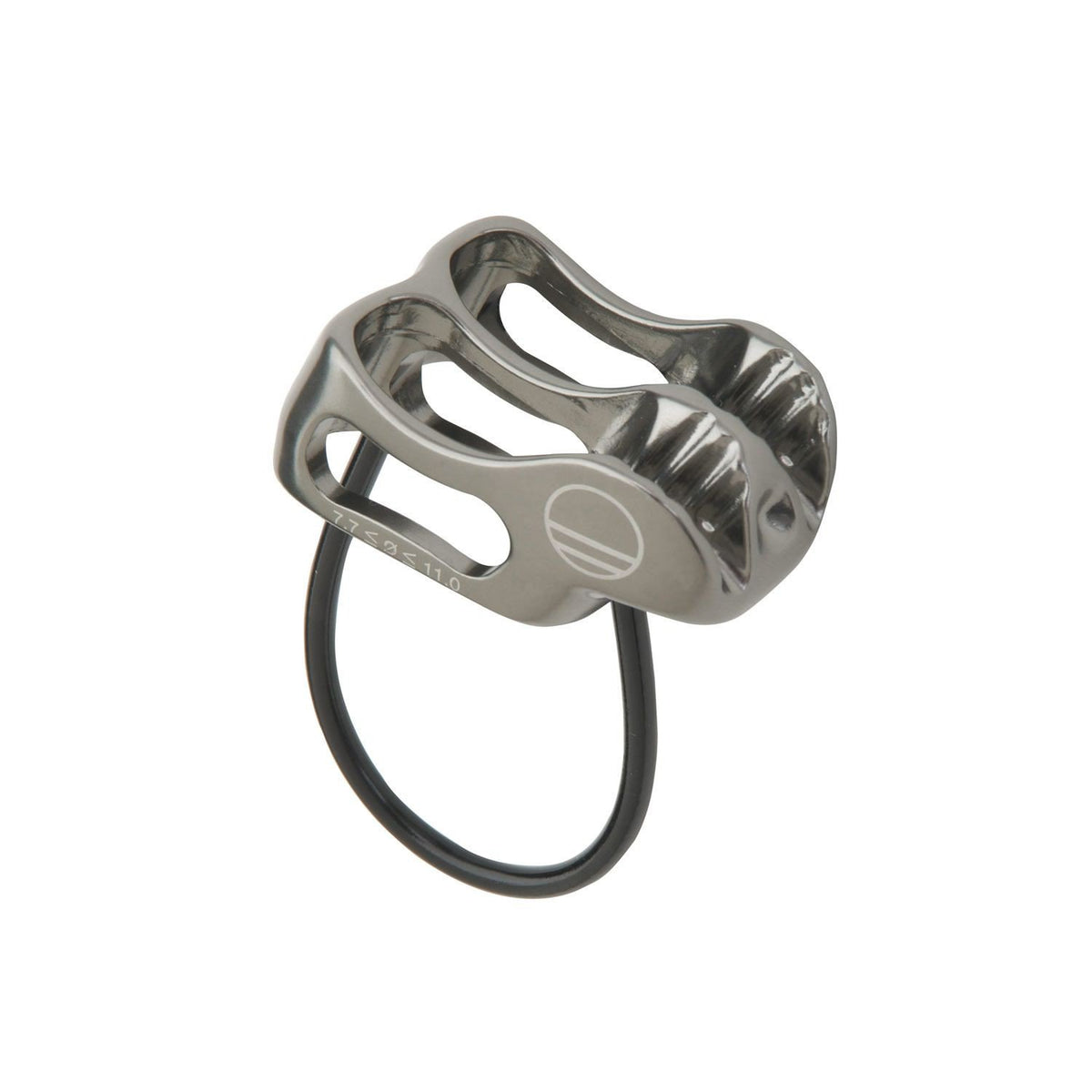 Wild Country Pro Lite belay device, front/side view showing in silver colour