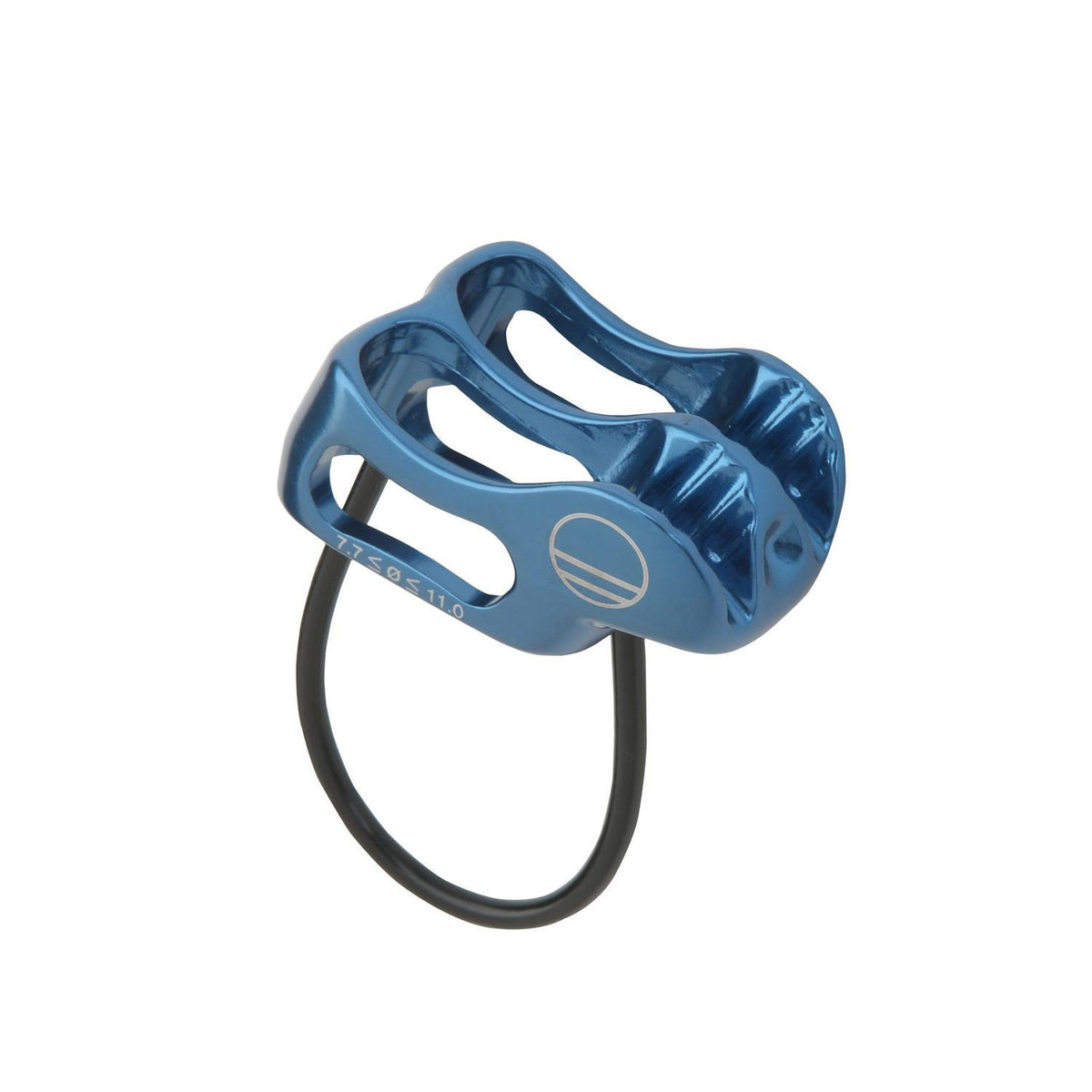Wild Country Pro Lite belay device, front/side view showing in blue colour