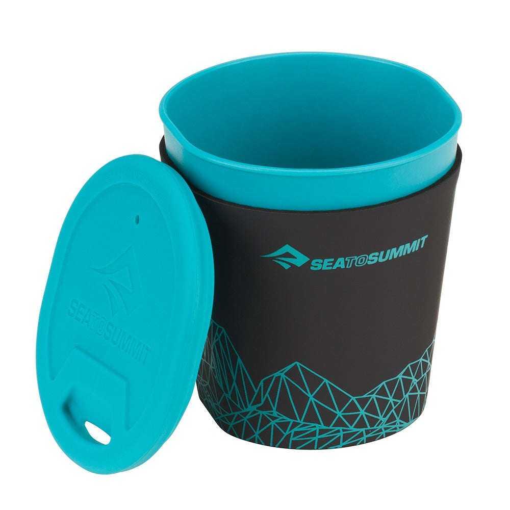 Sea to Summit DeltaLight Insulated Mug, shown with lid off in black and blue colours