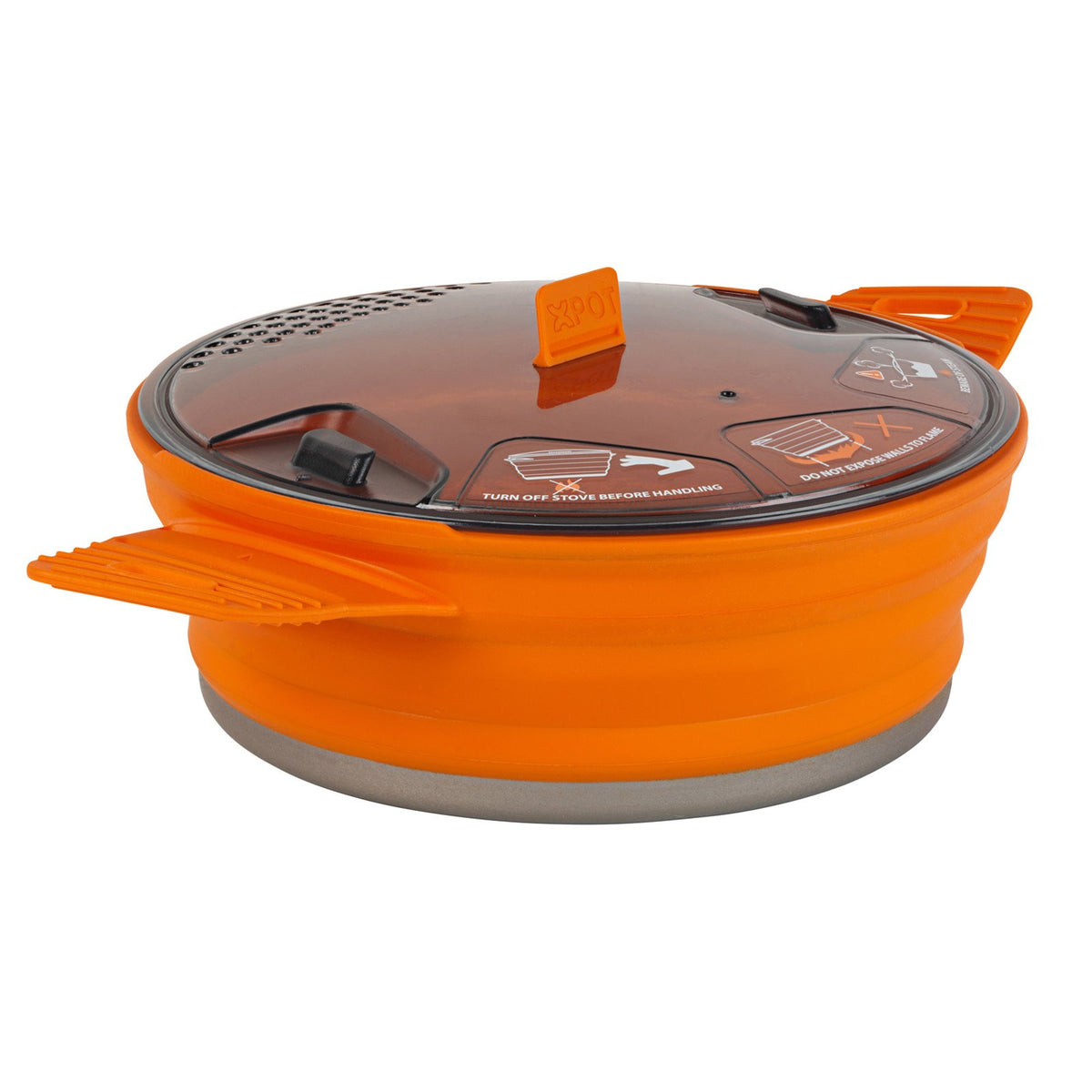 Sea to Summit X-Pot 1.4 Litre camping pot, shown fully erect in orange colour with clear lid