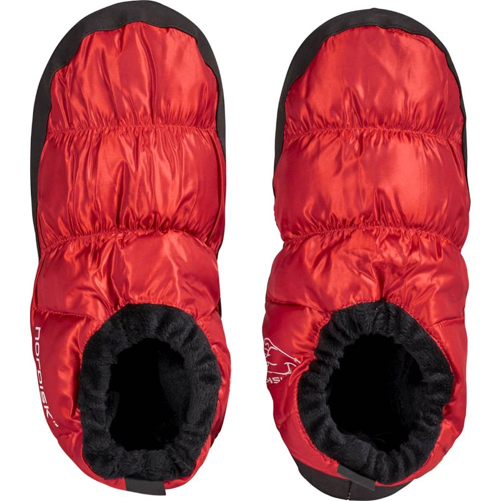 Nordisk Mos Down Slippers, shown in a pair with the view from above, in Red