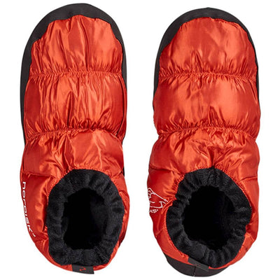 Nordisk Mos Down Slippers, shown in a pair with the view from above, in Orange