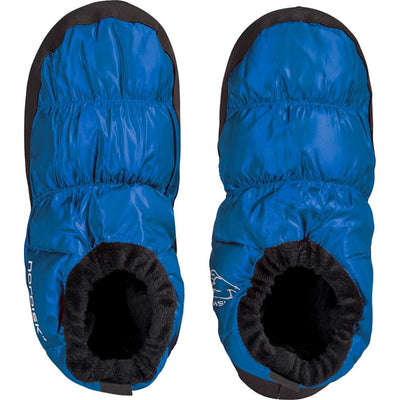 Nordisk Mos Down Slippers, shown in a pair with the view from above, in Blue