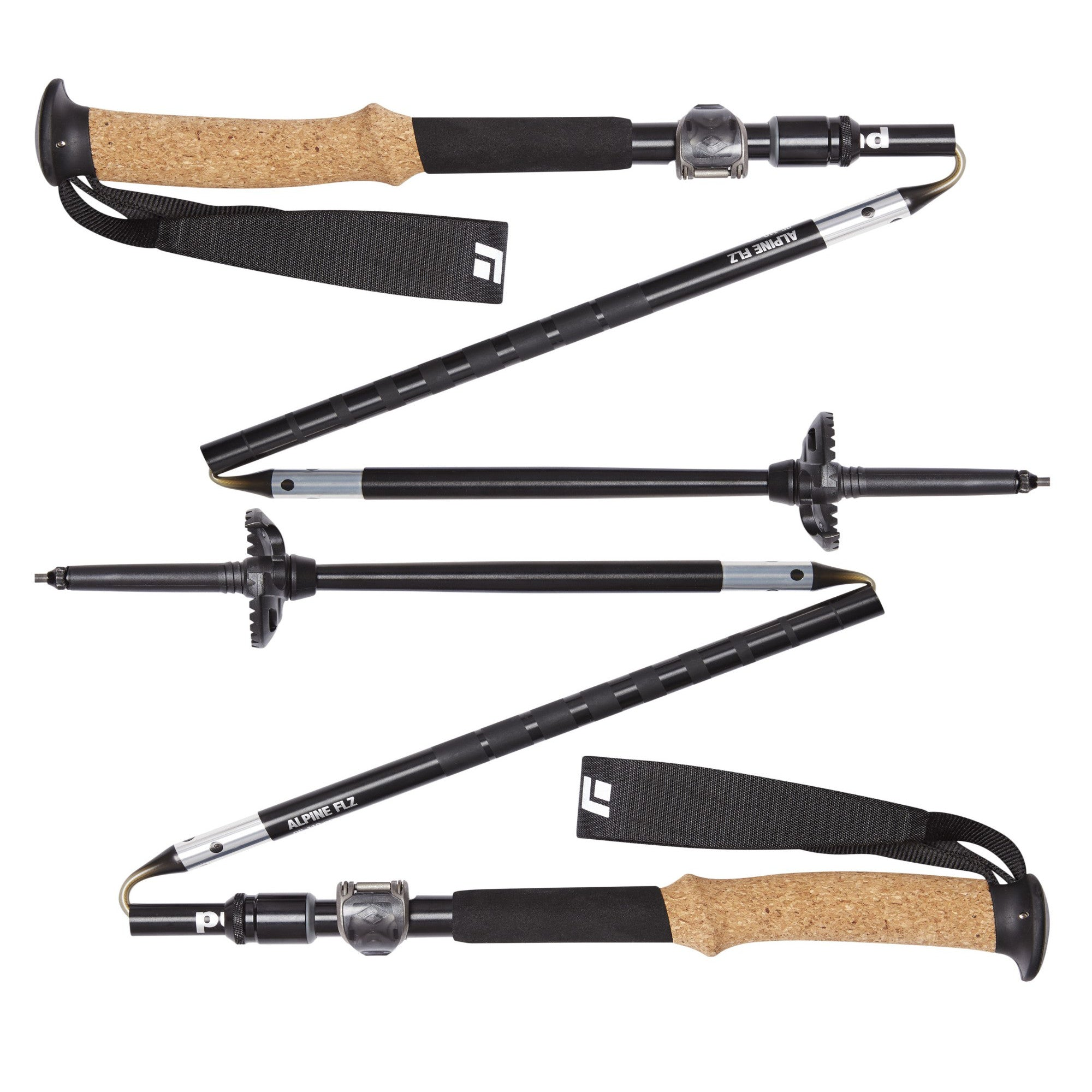 Black Diamond Alpine FLZ trekking poles, shown in a pair collapsed