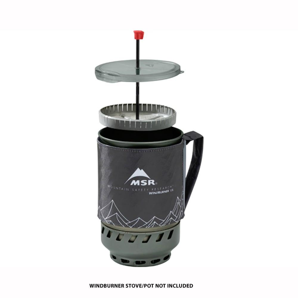 MSR WindBurner Coffee Press shown going inside the cup