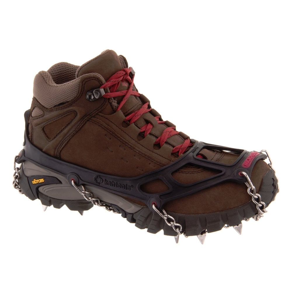 Kahtoola MICROspikes shown from the side on a brown walking boot