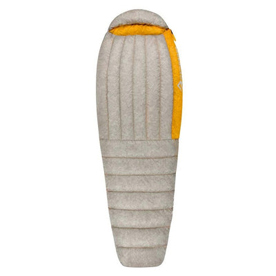 Sea to Summit Spark I sleeping bag, shown closed and laid flat in grey and yellow colours