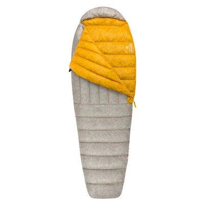 Sea to Summit Spark I sleeping bag, shown partially open with yellow lining
