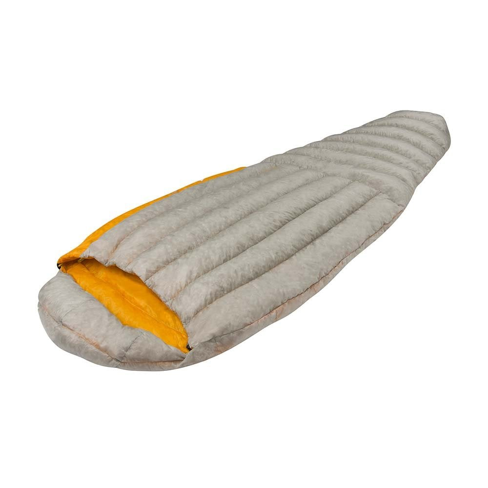 Sea to Summit Spark I sleeping bag shown side on, fully closed and flat