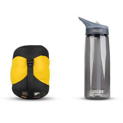 Sea to Summit Spark I sleeping bag shown in stuff sack next to water bottle for size