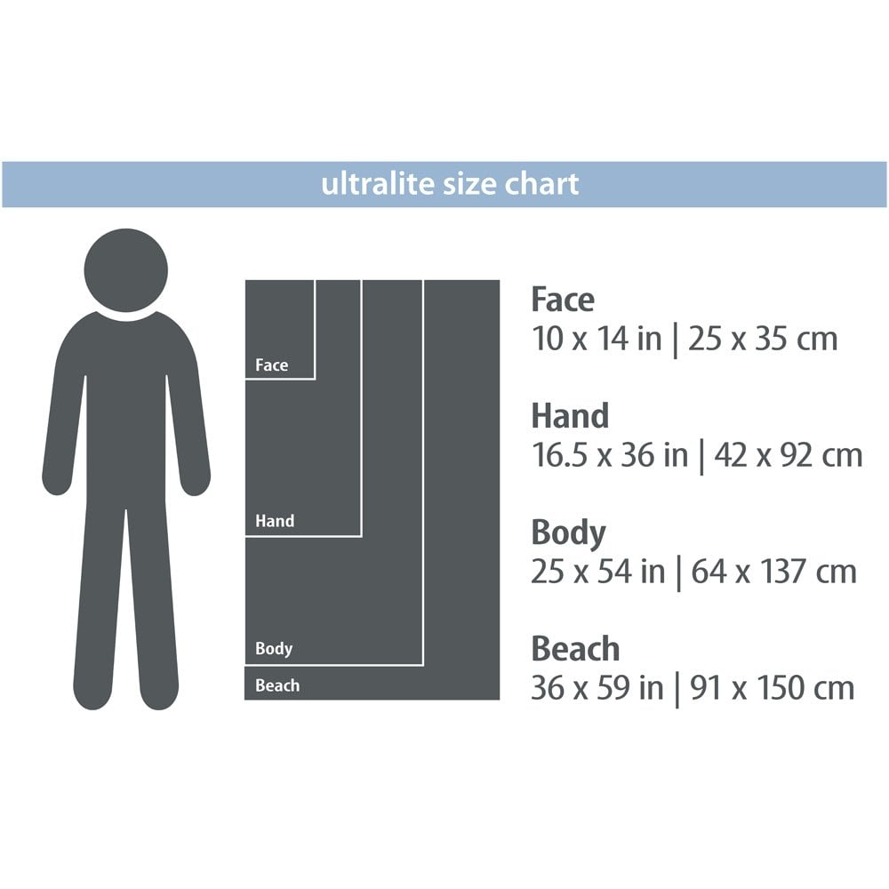 Packtowl UltraLite (Body) showing sizing chart