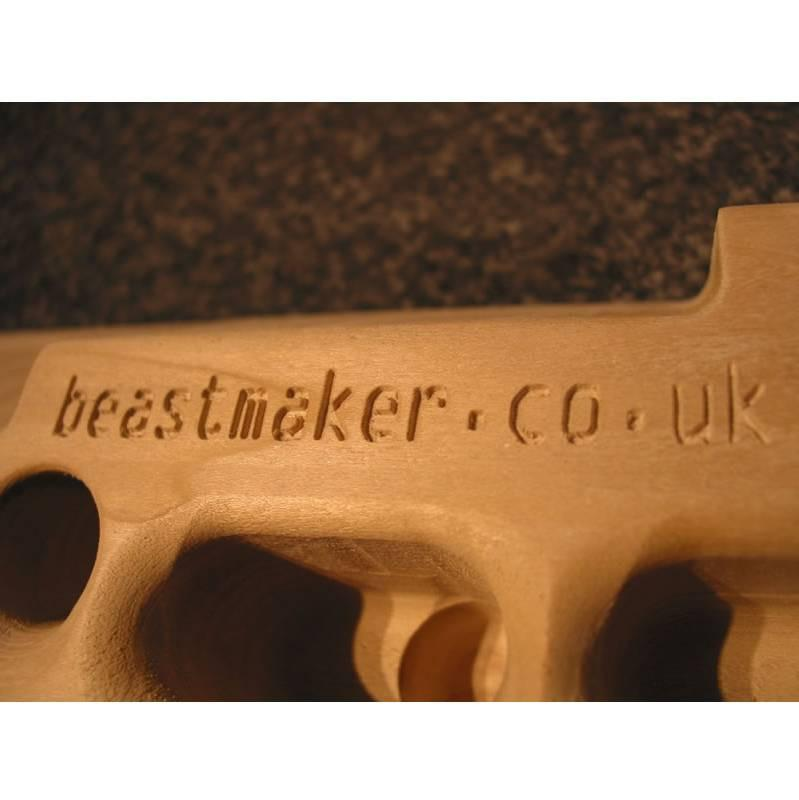 Beastmaker 2000 fingerboard, close up of the company logo etched in the board