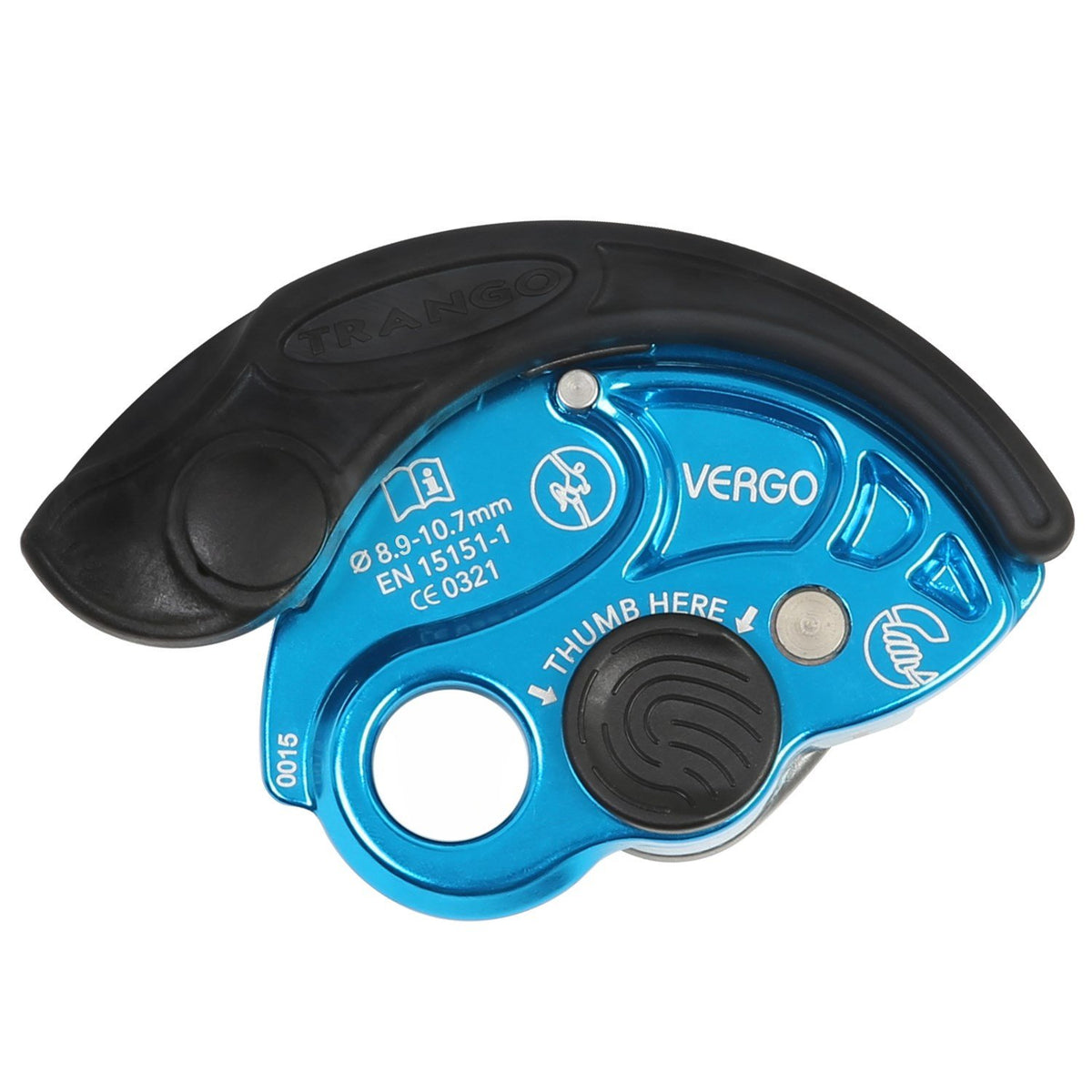 Trango Vergo climbing belay device, in Blue colour